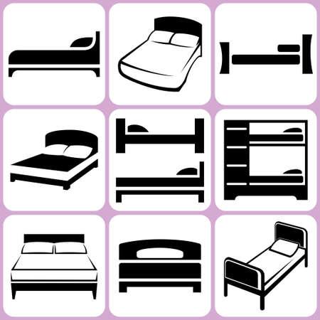 ベッドのアイコンを設定  イラスト・ベクター素材