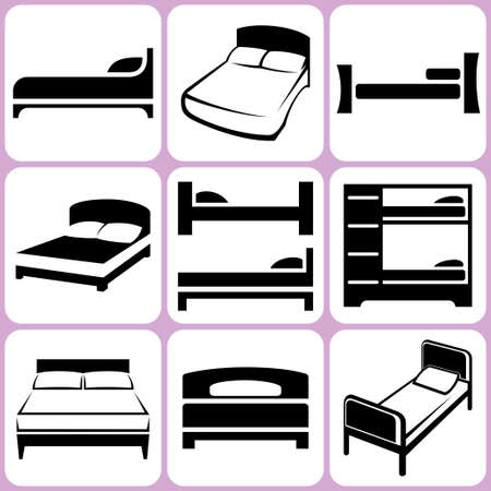 bed icons set Illustration