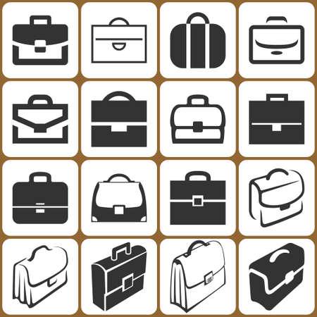 brief case: briefcase icons set Illustration