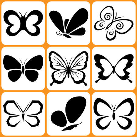 butterfly tattoo: butterfly icons set Illustration