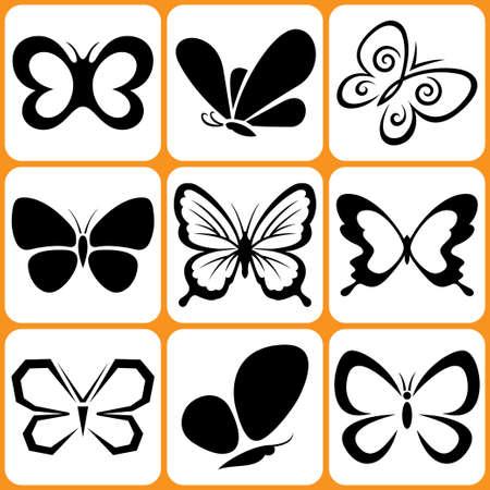 farfalla tatuaggio: Icone Butterfly Set Vettoriali