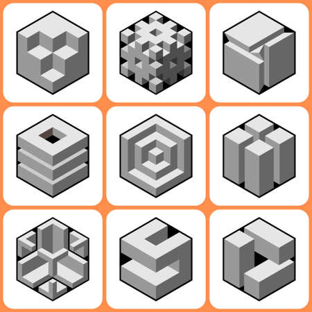 cube icons set 6 Çizim