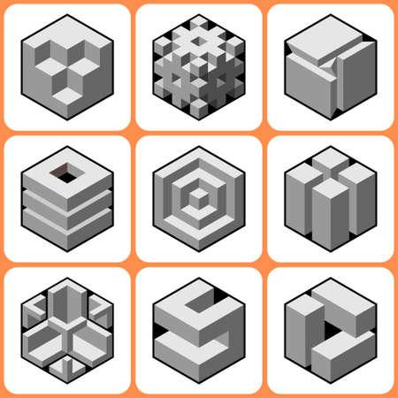 bossy: cube icons set 6 Illustration