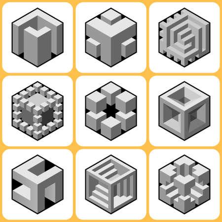 cubic: cube icons set 3 Illustration