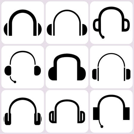 headset symbol: headphone icons set
