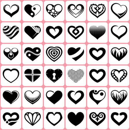 heart icons set Çizim