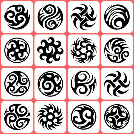 gothic style: round tattoos set
