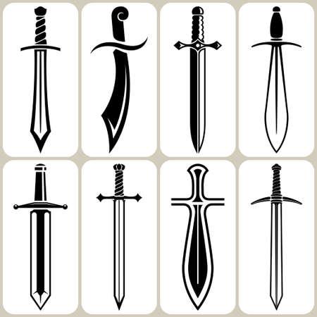 espadas medievales: espadas conjunto Vectores