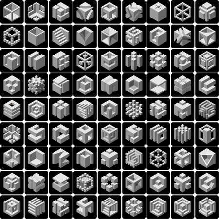 set of 81 vector cube icons Çizim