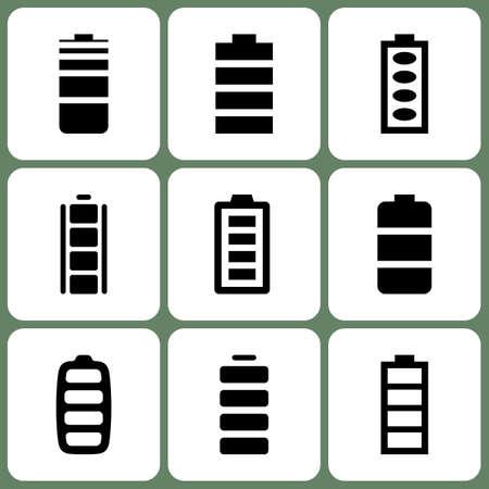 amperage: Battery Icons Set Illustration
