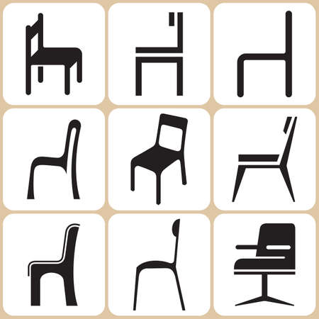 seating furniture: Chair Icons Set Illustration