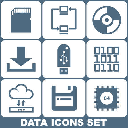 Data Storage Icons Set Vector