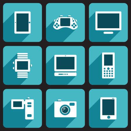 e reader: Digital Devices Set Illustration