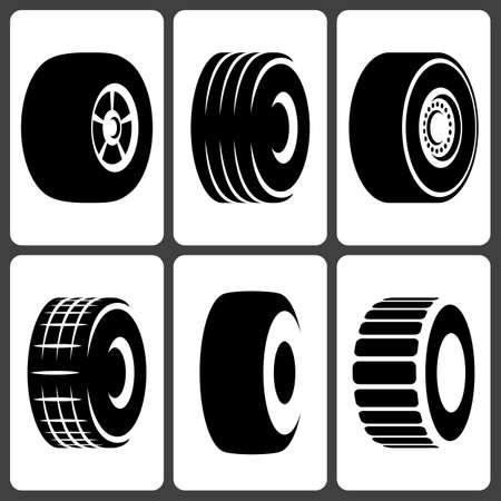 wheel rim: Car Wheel Tire Icons Illustration