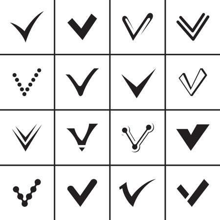 confirm: Confirm signs set vector illustration