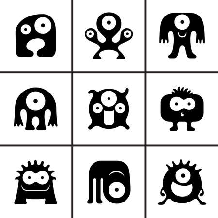 Funny monster icons set vector illustration