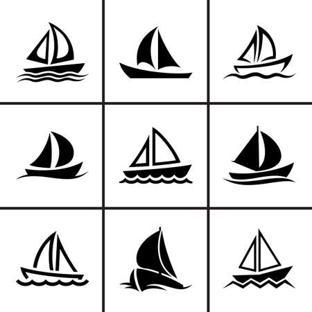 Sail boat icons set vector illustration