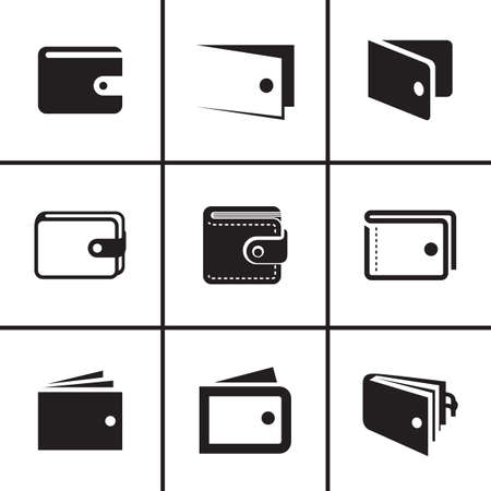 Wallet icons set vector illustration Illustration