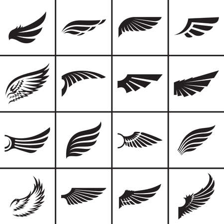 ali angelo: Elementi di ali di design all'interno di diversi stili di illustrazione vettoriale Vettoriali