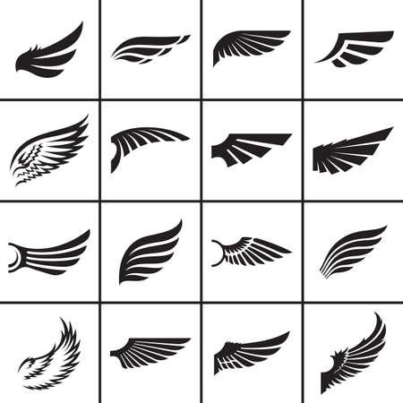 alas de angel: Elementos de diseño Alas establecidos en diferentes estilos ilustración vectorial