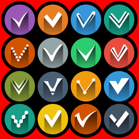 Confirm signs and tick icons set vector illustration Illustration