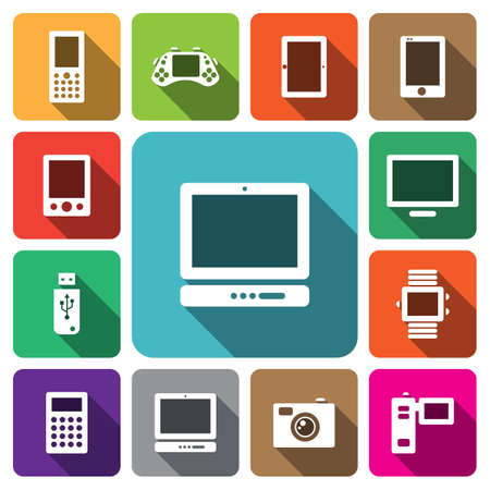 digitizer: Digital multimedia electronic device icon set vector illustration Illustration