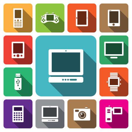e reader: Digital multimedia electronic device icon set vector illustration Illustration