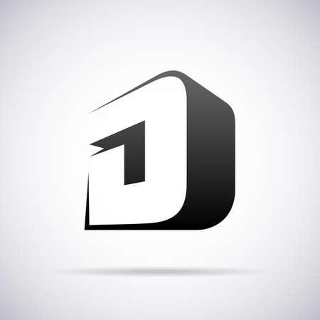 文字 D デザイン テンプレート ベクトル図