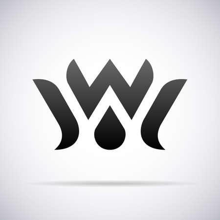 편지 W 디자인 서식 파일 벡터 일러스트 레이 션 로고