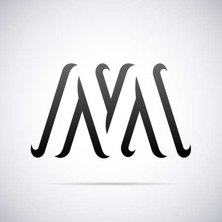 business letter:  letter M design template vector illustration Illustration
