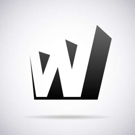W の文字デザイン テンプレート ベクトル図  イラスト・ベクター素材