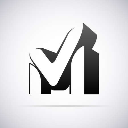 文字 M デザイン テンプレート ベクトル図のためのロゴ