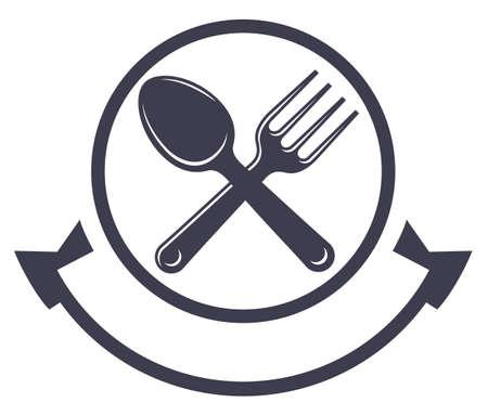 cibo: logo servizio di ristorazione con cucchiaio e forchetta