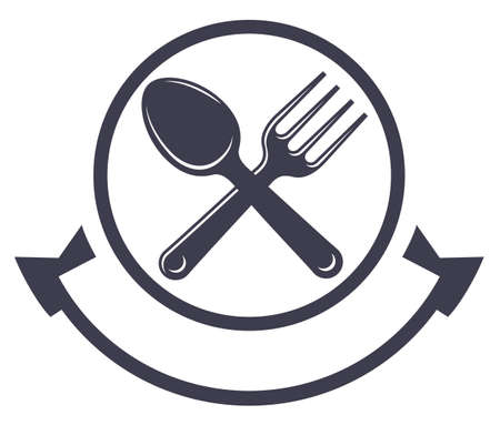 Food service logo with spoon and fork Vectores
