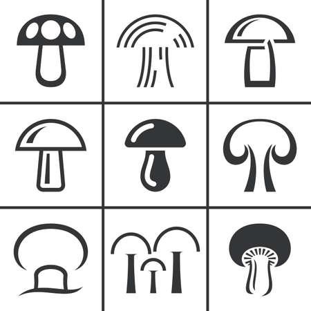 Vector mushroom icon, logo set. Modern icon, emblems for eco shop, market, restaurant, internet design Stok Fotoğraf - 64586093