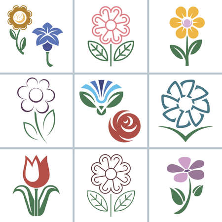 Flower icon icon and signs illustration