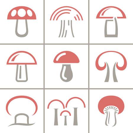 Vector mushroom icon, logo set. Modern icon, emblems for eco shop, market, restaurant, internet design