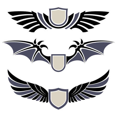 Wings. Set of design elements. Vector illustration