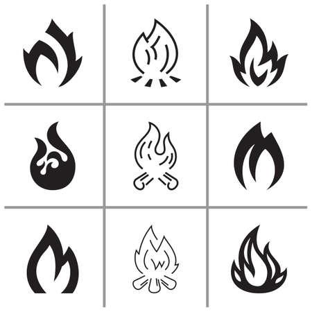 Fire flames, set icons, vector illustration Çizim