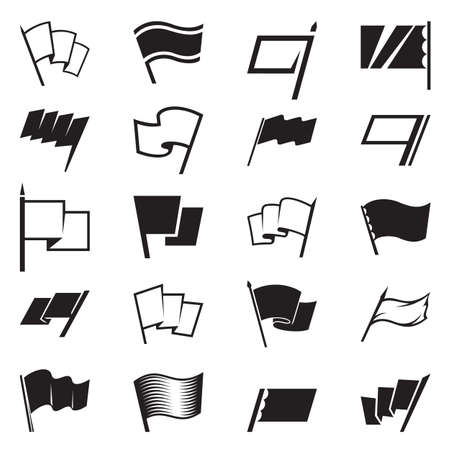 Flag icon and signs set illustration.