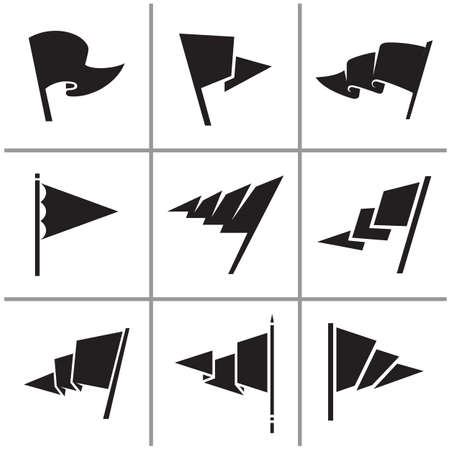 Flag triangle icon and signs set vector illustration Çizim