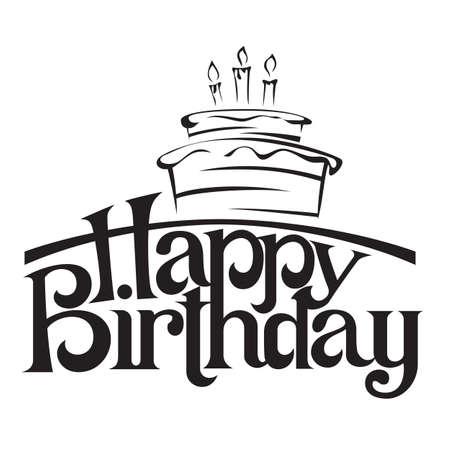 Happy birthday lettering vector illustration Çizim