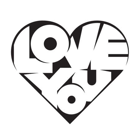 Heart shape lettering Love you for Valentines day Çizim