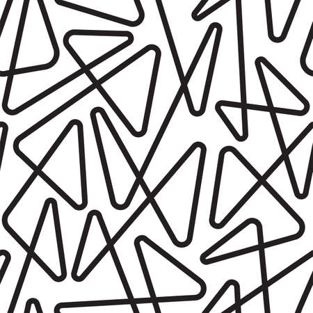 Seamless linear pattern with thin curl lines and scrolls. Vector illustration