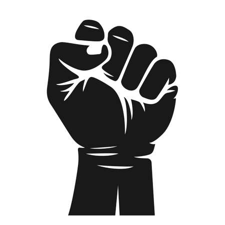 Rising hand fist vector illustrtion. Protest, rebel, independence, power or freedom symbol. Stok Fotoğraf - 106006597