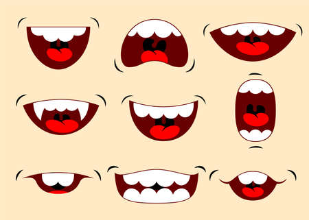 Vector illustrations of funny cartoon mouth with different expressions. Vector illustration Stok Fotoğraf - 112203614