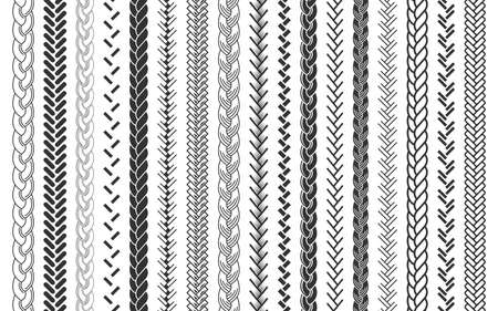 Plait and braids pattern brush set of braided ropes vector illustration