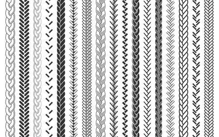 Zopf- und Zöpfemusterbürstensatz geflochtene Seile Vektorillustration Vektorgrafik
