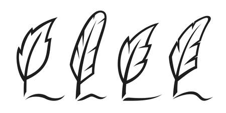 Ink writing feathers set. Vector illustration Çizim