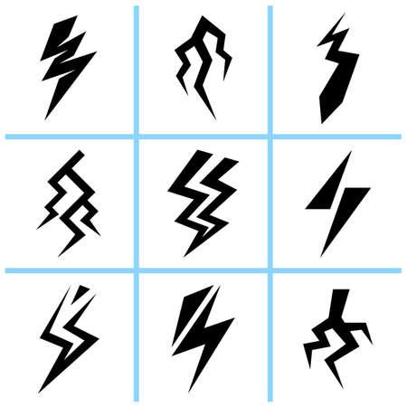 Lightning thunderbolt signs set. Vector illustration